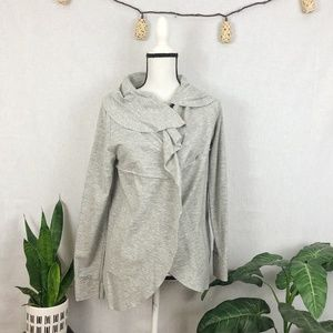 Kensie gray wrap jersey cardigan M